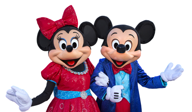 Mickey et Minnie tout sourires